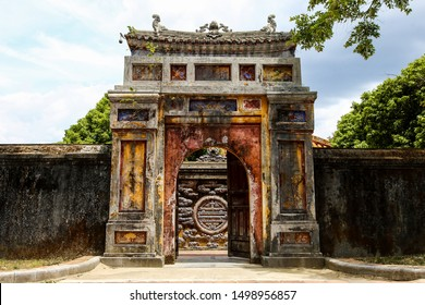 Buddhist temples and artifacts inside the Imperial City in Hue, Vietnam