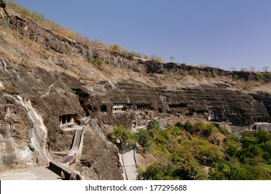 Buddhist temples forged in rocks in the Ajanta town in India, Maharashtra, India (Unesco)