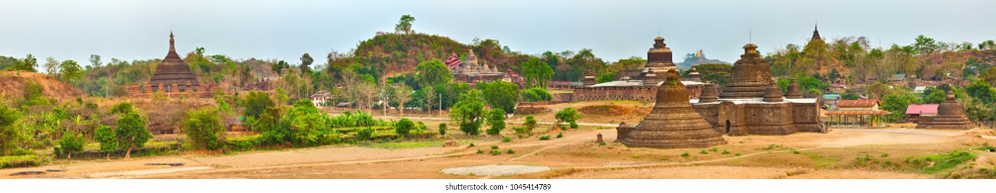 Buddhist temples in Mrauk U. Myanmar. High resolution panorama