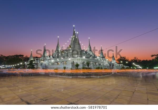 Buddhist in Thailand come pray in Magha Puja Day at Asokaram Temple, Samutprakarn Province, Thailand