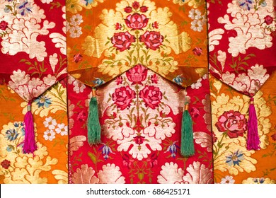 Buddhist thangka - a Tibetan Buddhist painting on cotton, or silk applique - in a monastery in Ralong, Sikkim, India