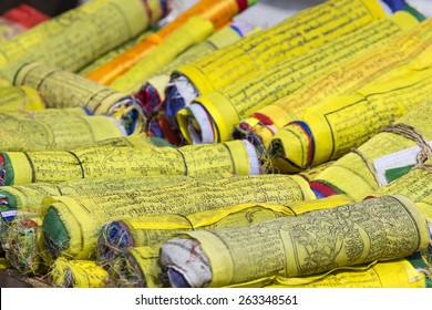 Buddhist Tibetan prayer flags rolled into a roll, Kathmandu, Nepal.