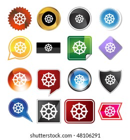 Buddhist wheel life icon web button isolated on a background.