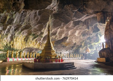 Buddhists temple in Saddar cave near Hpa-an in Myanmar