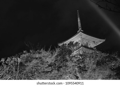 Buddihst temple in Kyoto Japan name is Kiyomizu dera, Travel destination for night Photograp beautiful Architecture and grden in autumn season , Black and White night time  photo