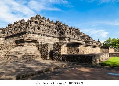Buddist temple Borobudur complex, Unesco world heritage. Candi Borobudur, Yogyakarta, Central Jawa, Indonesia.