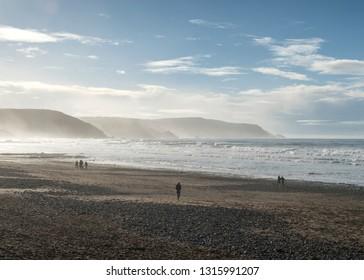 Bude, Cornwall beach in winter sun