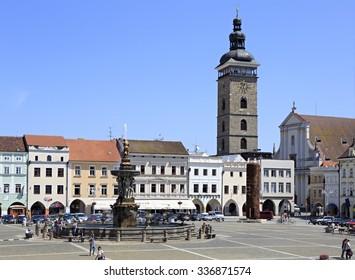 Budejovice, Czech Republic - July 3, 2013: Square in the historic center of Ceske Budejovice.