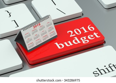 budget 2016 concept  on the keyboard