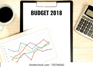 budget 2018, business concept with profit forecast in digital tablet