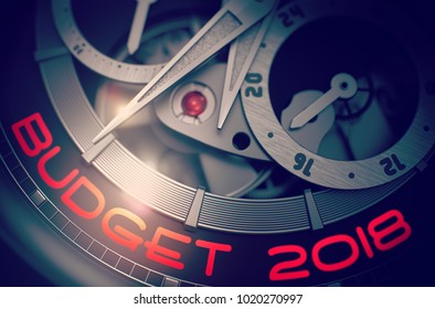 Budget 2018 on Face of Men Pocket Watch, Chronograph Closeup. Budget 2018 - Black and White Closeup of Wristwatch Mechanism. Business Concept with Lens Flare. 3D Rendering.