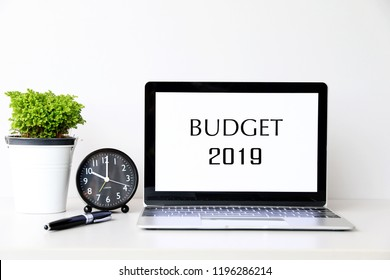 BUDGET 2019 Business Concept word on Laptop