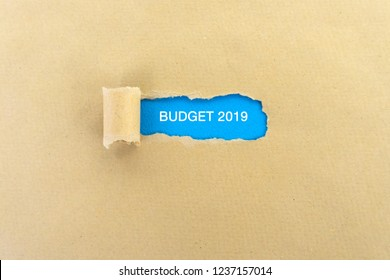 Budget 2019 text on torn paper - business concept