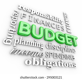 Budget 3d word collage for accounting or bookkeeping terms like planning, finances, responsibility, obligations, discipline, spending and reporting