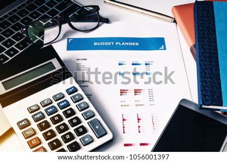 budget concept budget planner paper calculator stock photo edit now
