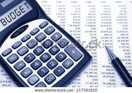 budget concept budget text on calculator stock photo edit now