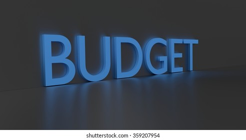 Budget concept word - blue text on grey background.