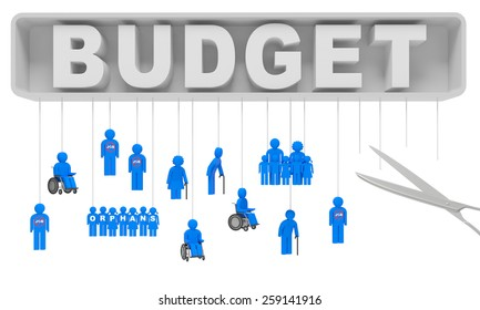 Budget cut social security benefits (concept). Cuts in social services (cost saving) as a result of economic crisis and slowdown in economy