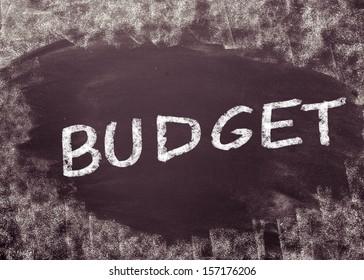 Budget handwritten with chalk on a blackboard
