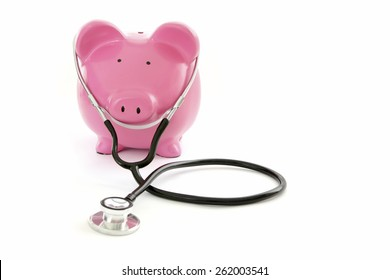 Budget Health Check - Piggy Bank on White Background with stethoscope