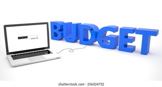 Budget - laptop computer connected to a word on white background. 3d render illustration.