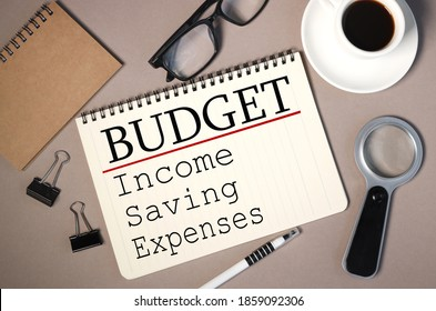 BUDGET, Monthly Budget Planning 2021 with Calculator B Cup of Coffee on Brown Background