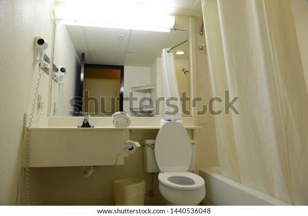 Budget motel bathroom in USA
