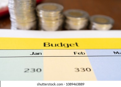 Budget plan with Coins to Illustrate savings