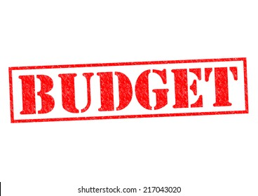 BUDGET red Rubber Stamp over a white background.