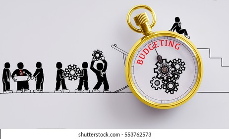 """Budgeting"" words on pocket watch with workers doodles carry on cog and read plan to fix it on white background - business, time and finance concept"