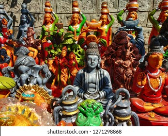 Budha Idle with bunch of little idles. Street shopping idle stall. Hyderabad, India.