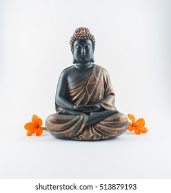 budha on a white background with red flower