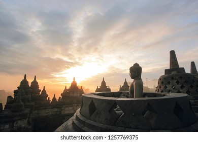 Budha Statue in the Borobudur Temple, Central Java Indonesia, during sunrise in the morning. One of the 7 wonder of the world.