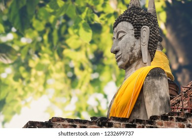 Budha you from stone ancient ancient times cliping part
