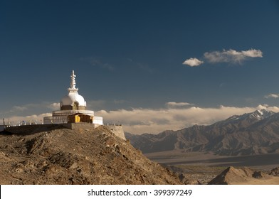 Budhist monument Shanti Stupa in Leh, Ladakh, India