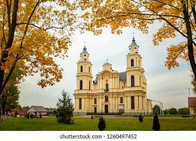 Budslau, Myadzyel Raion, Minsk Region, Belarus. Church Of The Assumption Of The Blessed Virgin Mary In Autumn Day.