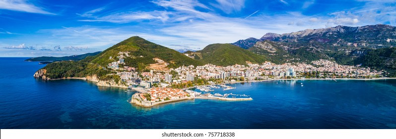 Budva from the air. Aerial view. Top view. Summer.