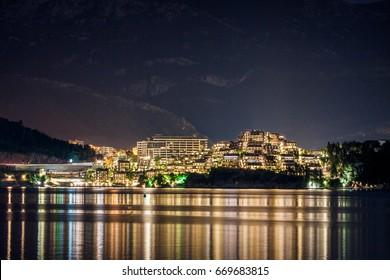 Budva hotels in the night