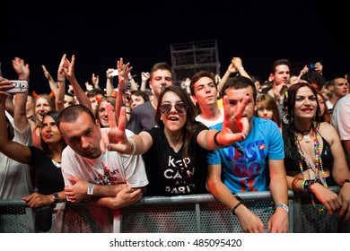 BUDVA- JULY 16 : Crowd in front of the Main Stage at SEA DANCE festival 2015  Music Festival July 16, 2015 in Budva, Jaz beach, Montenegro