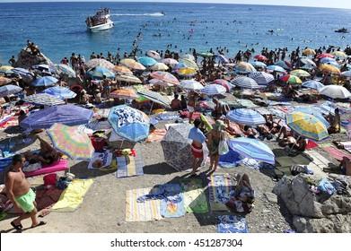 BUDVA , MONTENEGRO - 27 July 2015. Town beach with tourists on July 27, 2015 in Budva , Montenegro. 27.07.2015
