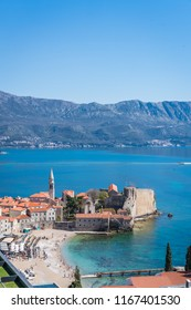 Budva, Montenegro - April 2018 : View of the Old Town Budva centre on the Adriatic coast