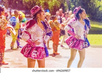 Budva, Montenegro, April 29, 2017:  Group of girls in carnival costumes are dancing at the festival