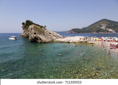 BUDVA, MONTENEGRO - AUGUST 07, 2017:Beach on the island of St. Nicholas in the Adriatic Sea.