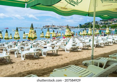 BUDVA, MONTENEGRO - JULY 12, 2014: The scenic beach located next to the old town with well preserved citadel, on July 12 in Budva