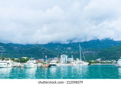 BUDVA, MONTENEGRO - JULY 12, 2014: The heavy clouds covered the mountains on Budva riviera, on July 12 in Budva
