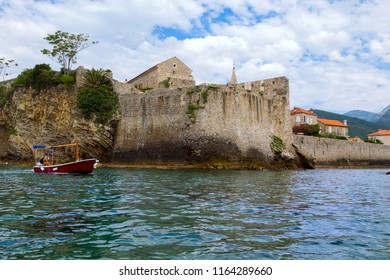 BUDVA, MONTENEGRO July 26, 2018: View of old Town of Budva from Sea.