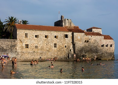 Budva, Montenegro, July 30, 2018: The fortifications of Budva are typical of the Medieval walled cities of the Adriatic.