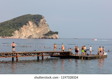Budva, Montenegro, July 30, 2018: The Budva Riviera, the center of Montenegrin tourism, known for its well-preserved medieval walled city, sandy beaches and diverse nightlife.