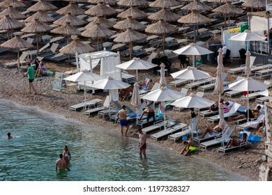 Budva, Montenegro, July 30, 2018: The Budva Riviera is a 35 km long strip of the Adriatic coast surrounding the town of Budva in western Montenegro.