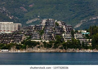 Budva, Montenegro, July 30, 2018: Dukley Hotel & Resort on the Budva Riviera.